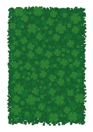 leafed: Vector background for St. Patricks Day, green clover leaves, four-leafed clover, bringing good luck.