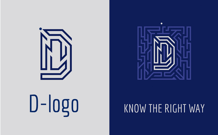 Creative logo for corporate identity of company: letter D. The logo symbolizes labyrinth, choice of right path, solutions. Suitable for consulting, financial, construction, road companies, quests, educational schools. Logo
