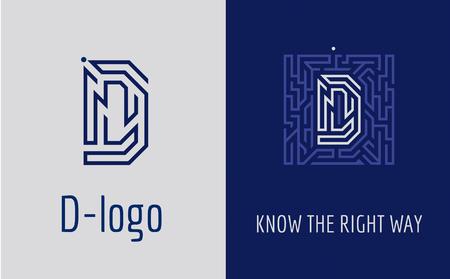 Logotipo creativo para la identidad corporativa de la empresa: letra D. El logotipo simboliza el laberinto, la elección del camino correcto, las soluciones. Adecuado para consultoría, finanzas, construcción, compañías de carreteras, misiones, escuelas educativas. Logos