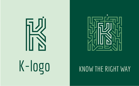 right choice: Creative logo for corporate identity of company: letter K. The logo symbolizes labyrinth, choice of right path, solutions. Suitable for consulting, financial, construction, road companies, quests, educational schools.