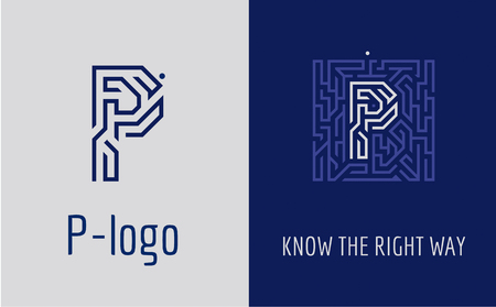 Creative logo for corporate identity of company: letter P. The logo symbolizes labyrinth, choice of right path, solutions. Suitable for consulting, financial, construction, road companies, quests, educational schools. Ilustração
