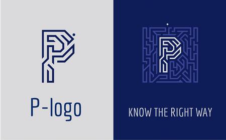 Logotipo creativo para la identidad corporativa de la empresa: letra P. El logotipo simboliza el laberinto, la elección del camino correcto, las soluciones. Adecuado para consultoría, finanzas, construcción, compañías de carreteras, misiones, escuelas educativas. Logos