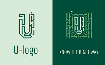 right choice: Creative logo for corporate identity of company: letter U. The logo symbolizes labyrinth, choice of right path, solutions. Suitable for consulting, financial, construction, road companies, quests, educational schools.