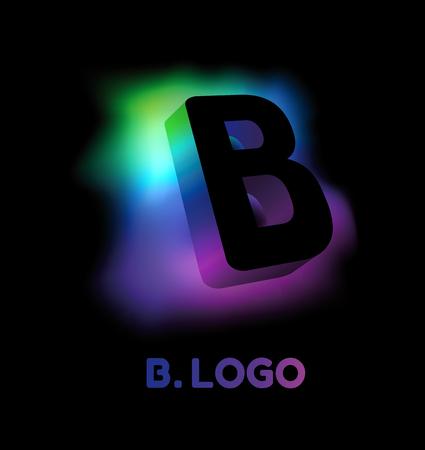 Vorlage des creative-Glow-3D-Logos für die Corporate Identity des Unternehmens oder Markennamens mit dem Buchstaben B Standard-Bild - 77884034