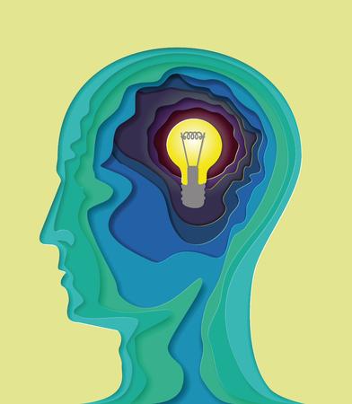 Modèle d'illustration créative de la tête et des pensées pour la publicité. La tête 3D volumétrique.