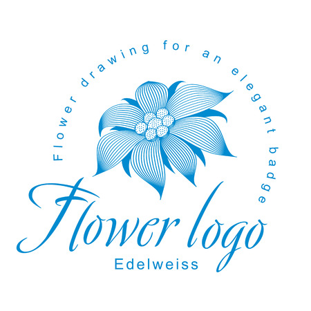 Edelweiss is a logo, a flower for an elegant corporate identity with symbol of an open edelweiss flower, a water lily, a lotus or other abstract floret.