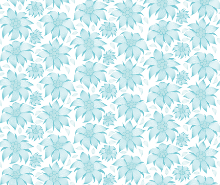 Seamless floral pattern. On a white background, the blue flowers of edelweiss, water lily, lotus. For greeting cards, invitations, textiles, clothes, wrapping paper, wallpaper, interior design of room.