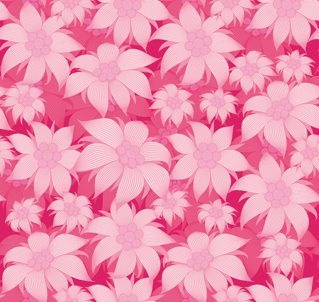 Seamless floral pattern. On a pink background, the flowers are edelweiss, water lily, lotus. For postcard, invitations, textiles, clothes, wrapping paper, wallpaper, interior design of the room. Illustration