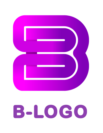 Abstract letter B - creative logo template vector illustration. Logo for corporate identity of the ribbon, closed line of gradient color, tortuous path. Neon glowing letter.