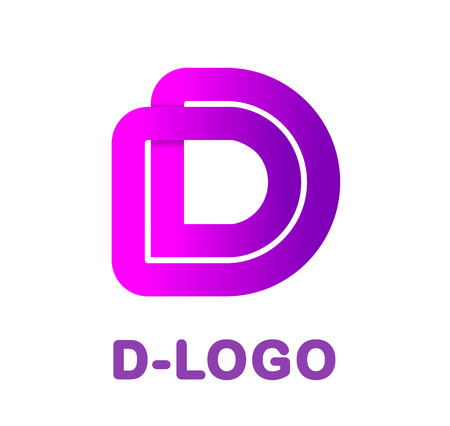 Abstract letter D - creative logo template vector illustration. Logo for corporate identity of the ribbon, closed line of gradient color, tortuous path. Neon glowing letter. 向量圖像