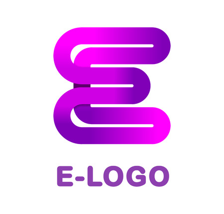 Abstract letter E - creative logo template vector illustration. Logo for corporate identity of the ribbon, closed line of gradient color, tortuous path. Neon glowing letter. Typographical font. Graphic design elements. 向量圖像