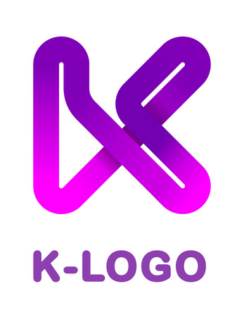 Abstract letter K - creative logo template vector illustration. Logo for corporate identity of the ribbon, closed line of gradient color, tortuous path. Neon glowing letter. 向量圖像