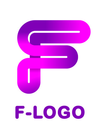 Abstract letter F - creative logo template vector illustration. Logo for corporate identity of the ribbon, closed line of gradient color, tortuous path. Neon glowing letter.