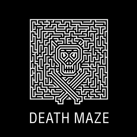 Skull and bones in a horrible deadly labyrinth - Creative logo, vector sign concept illustration. Layout T-shirts, prints, posters, leaflets for Halloween, zombie party, quests or a concert with skulls, emblem, icon, label. Element of design.