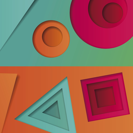 stratum: Background of multicolored abstract vector in the style of material design with geometric shapes of different sizes. Multilayer circles, triangles, squares on a bright background for banners, advertising, corporate identity, covers.