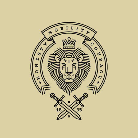 Emblem, badge with a head of the royal lion, ribbon, motto and swords in the style of engraving of a linear design for a premium or coat of arms. Lion with a crown symbol of power, strength, security. Ilustração Vetorial