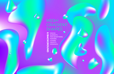 Background multicolored abstract vector holographic gradient 3d background with figures and objects for web, packaging, poster, billboard, advertisement, cover, brochure, collage, wallpaper, presentation. Vector illustration of modern art.