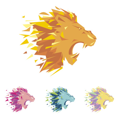 Head of lion is a logo for the corporate identity of the companys business, sports club, brand of clothing or equipment. The tiger grows, is opened its toothy mouth. Male serious logo. Illustration