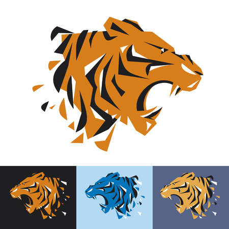 Head of tiger is a logo for the corporate identity of the companys business, sports club, brand of clothing or equipment. The tiger grows, is opened its toothy mouth. Male serious logo. 向量圖像
