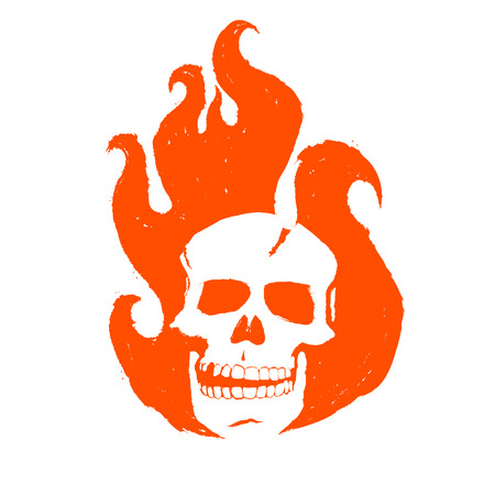 Skull in the fire. The burning head of the ghost racer. Abstract logo for corporate identity. Model of poster, leaflets for Halloween, zombie party or music concert with skulls, emblem, icon, label.