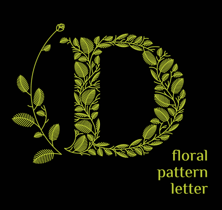 Letter D ecology icon isolated on black background. Organic bio icon from green grass leaves, plants for corporate identity of the company or brand on the letter D. Vettoriali