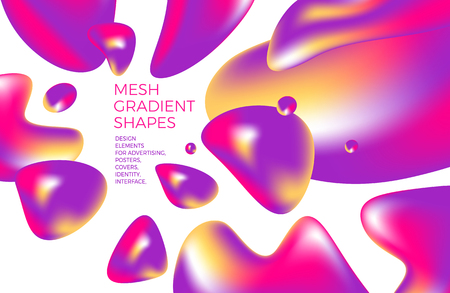 Abstract multicolored holographic 3D background with figures and shapes for web sites, packaging, poster, billboard, advertisement, cover, brochure, collage, wallpaper, presentation. Vector illustration of abstraction modern art. Illustration