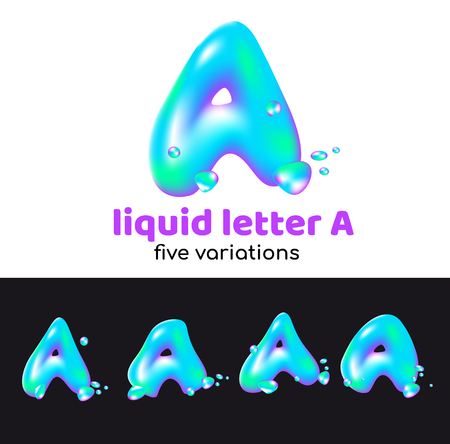 A letter as an aqua logo. Liquid volumetric letter with droplets and sprays for the corporate style of the company or brand on the letter A. Juicy, watery, holographic style. Banque d'images - 98262961