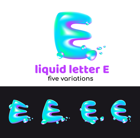 E letter as an aqua logo. Liquid volumetric letter with droplets and sprays for the corporate style of the company or brand on the letter E. Juicy, watery, holographic style. Banque d'images - 98262958