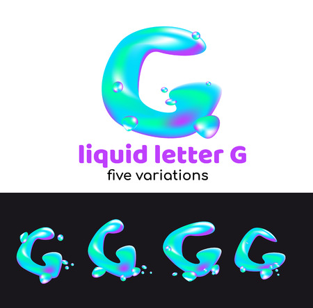 G letter as an aqua logo. Liquid volumetric letter with droplets and sprays for the corporate style of the company or brand on the letter G. Juicy, watery, holographic style. Banque d'images - 98262964