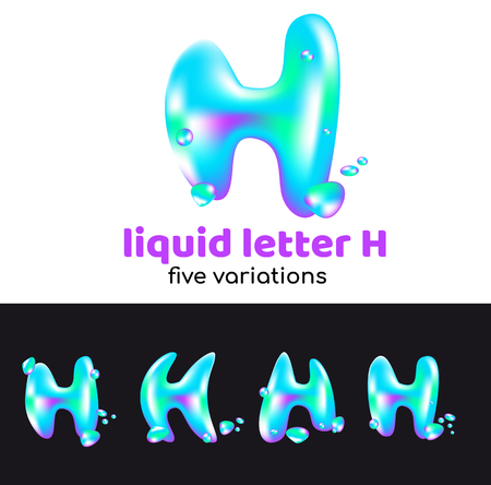 H letter as an aqua logo. Liquid volumetric letter with droplets and sprays for the corporate style of the company or brand on the letter H. Juicy, watery, holographic style.