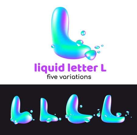 L letter as an aqua logo. Liquid volumetric letter with droplets and sprays for the corporate style of the company or brand on the letter L. Juicy, watery, holographic style. Illustration