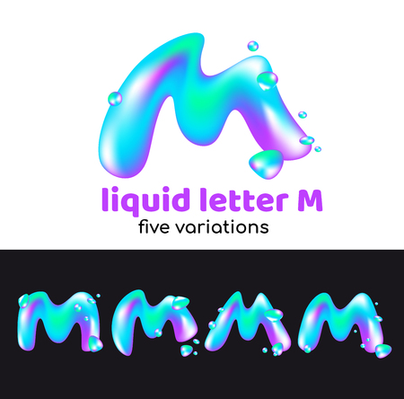 M letter as an aqua logo. Liquid volumetric letter with droplets and sprays for the corporate style of the company or brand on the letter M. Juicy, watery, holographic style. Vettoriali