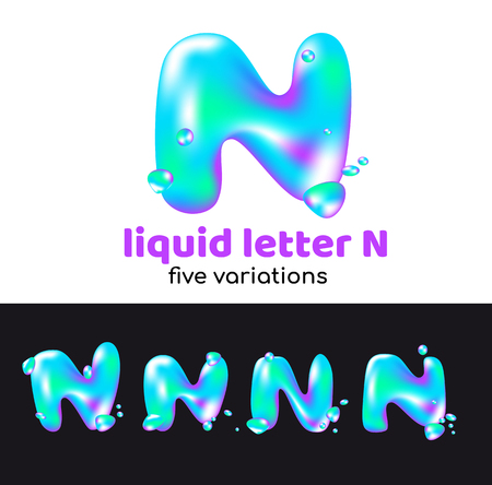 N letter as an aqua logo. Liquid volumetric letter with droplets and sprays for the corporate style of the company or brand on the letter N. Juicy, watery, holographic style. Ilustração