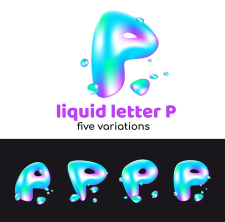P letter as an aqua logo. Liquid volumetric letter with droplets and sprays for the corporate style of the company or brand on the letter P. Juicy, watery, holographic style. Ilustração