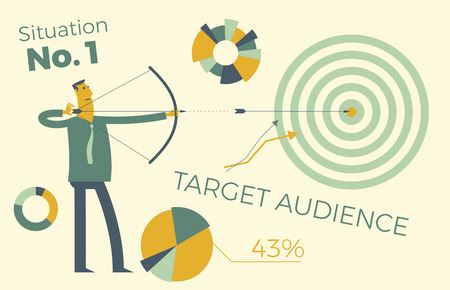 Business infographics with illustrations of business situations, investment projects, achievement of goals, career, profession. Target audience, customer search. A man shoots a bow from a target, the arrow hits the target. Vector illustration of a flat design. Elements of visualization of work on the project, contract, diagrams and graphs. Template for presentation, website.