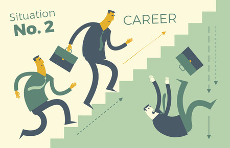 Business infographics, business situations. Career ladder, workers are striving upwards, achieving the goal, career, profession. Way through the ranks. Business people. Vector illustration of a flat design. Template for presentation, website.  イラスト・ベクター素材