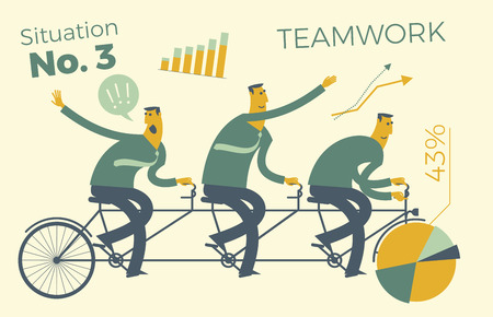 Business infographics, business situations. Teamwork, workers go to the goal in a single way. Achievement of goal, career, profession. Vector illustration of flat design. Project, contract, diagram, and graphic elements. Template for your presentation, web site.