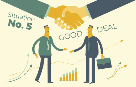 Business infographics, business situations. Conclusion of contract, deal. Partnerships, meeting of two businessmen, shake hands, union. Achieving the goal. Vector illustration of a flat design. Elements of visualization of work on the project, contract, diagrams and graphs. Template for presentation, website. Illustration
