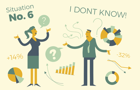 Business infographics with illustrations of business situations. Man and woman discussing work issues. Colleagues solve the problem. Meeting, negotiations in the office. Business people. Vector illustration of flat design.