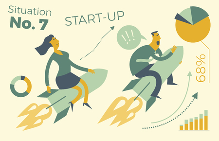 Business infographics with illustrations of business situations. A man and a woman flying a rocket up. Career growth. Sales and revenue growth. Successful people. Achievement goal, career, profession. Business people. Vector illustration of flat design. Illustration