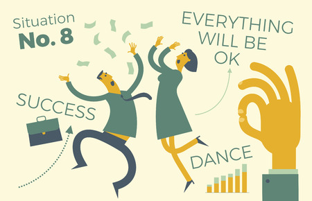 Business infographics with illustrations of business situations. A man and woman dance and rejoice in success. Signaling profitable contracts. Luck. Career growth. Sales and revenue growth. Successful people. Achievement goal, career, profession. Business people. Vector illustration of flat design.  イラスト・ベクター素材