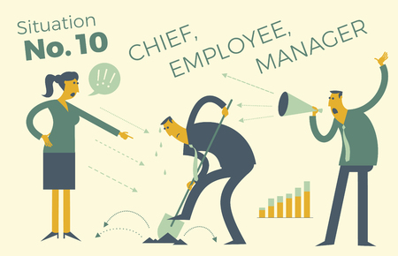 Business infographics with illustrations of business situations. One employee working, a lot of leaders. Office work, hard manual labor. The subordinate carries out the order. Vector illustration of flat design. Project, contract, diagram, and graph visualization elements.