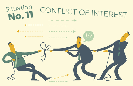 Business infographics with illustrations of business situations. People pull the rope, conflict of interest. Resolving difficulties and disagreements. The decision of the dispute. The opposition of workers. Business people. Vector illustration of flat design. Project, contract, diagram, and graph visualization elements. Illustration