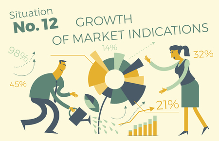 Business infographics with illustrations of business situations. Sales department. Project work. Growth in revenue and income. Execution of plan. Business people. Vector illustration of flat design. Project, contract, diagram, and graph visualization elements. Vettoriali