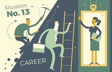 Business infographics, business situations. Career ladder, service elevator, workers strive upward, achievement goal, career, professional growth. The way up through the ranks. Business people. Vector illustration of flat design. Template for your presentation, web site. Ilustração