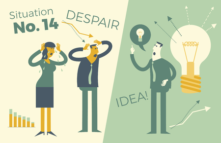 Business infographics, business situations. A man and a woman holding a head, a problem, a failure, a crisis at work. But there is a solution, an idea. Business people. Vector illustration of flat design. Template for your presentation, web site.
