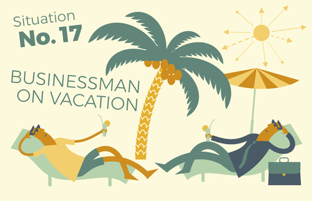 Businessman on vacation, business vacation-Illustration of a funny businessman sunbathing on the beach under palm trees and tropical cocktail for presentations, landing pages, animations and creative projects. Business infographics.