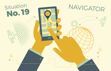 Hand holding smartphone with city map, GPS Navigator on smartphone screen. The concept of mobile navigation. Modern simple flat design for web banners, websites, infographics. Creative vector illustration. Illustration