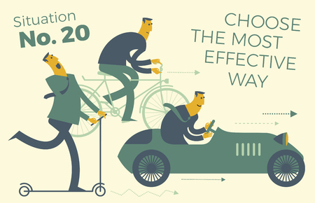 Business infographics, business situations. Men ride in different vehicles: scooter, bike, car. Make the right choice. The choice of effective solutions in business.