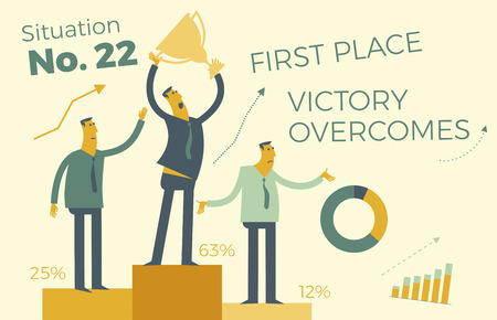 Business infographics, business situations. The winners are on the victory podium. Awarding of winners. Result of competitions. Award for success and effort. Victory in business. Success in work. Career ladder, employees strive up, goal achievement, career, profession. Business people. Vector illustration of flat design